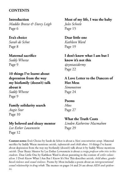 RIH contents page